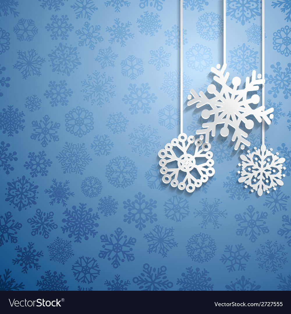 Christmas background with hanging snowflakes vector | Price: 1 Credit (USD $1)