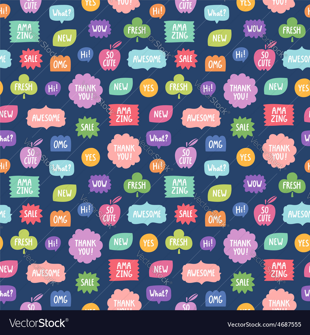 Colorful phrases repeat pattern on blue background vector | Price: 1 Credit (USD $1)