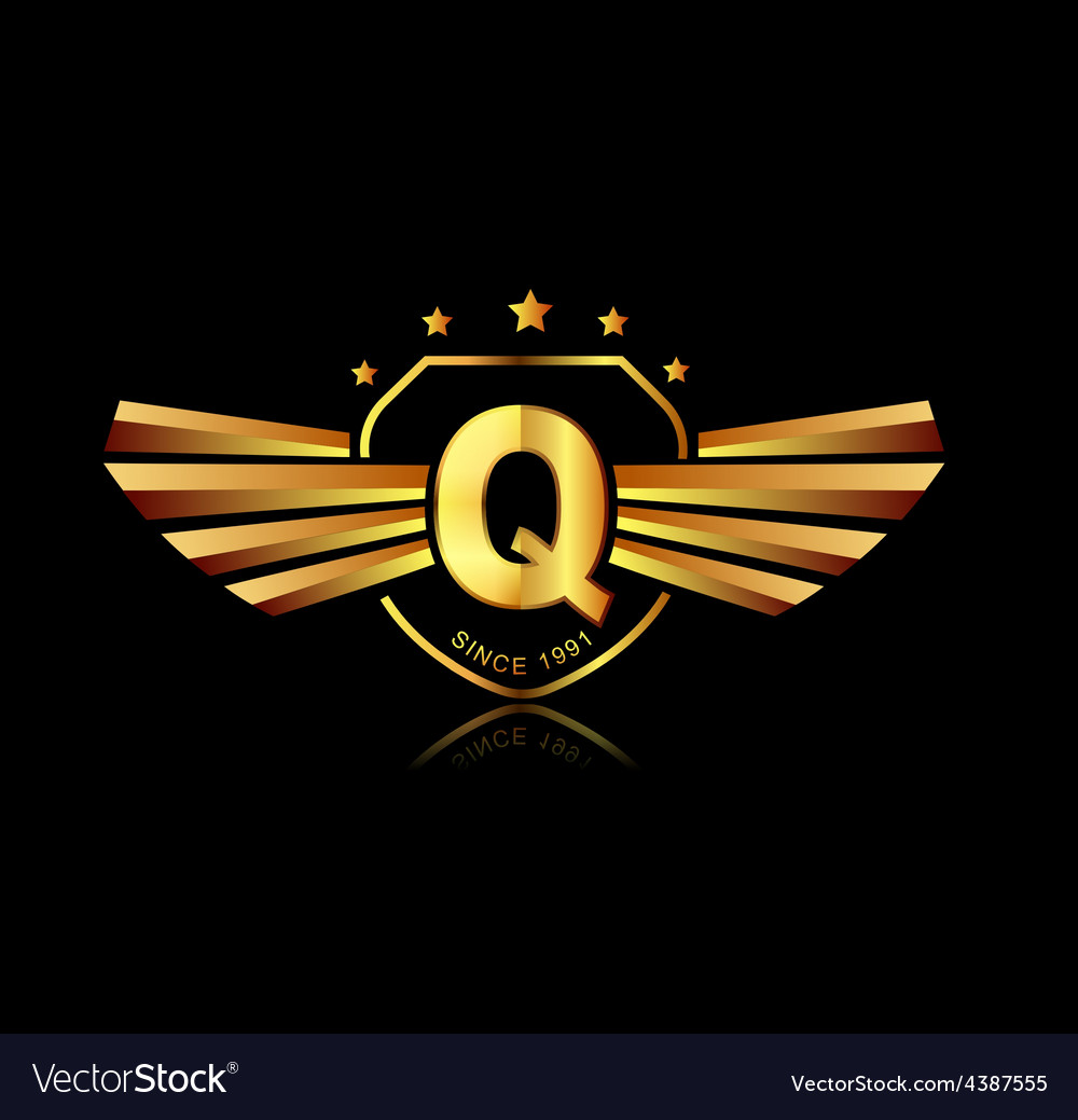Letter q winged crests logo alphabet logotype vector | Price: 1 Credit (USD $1)