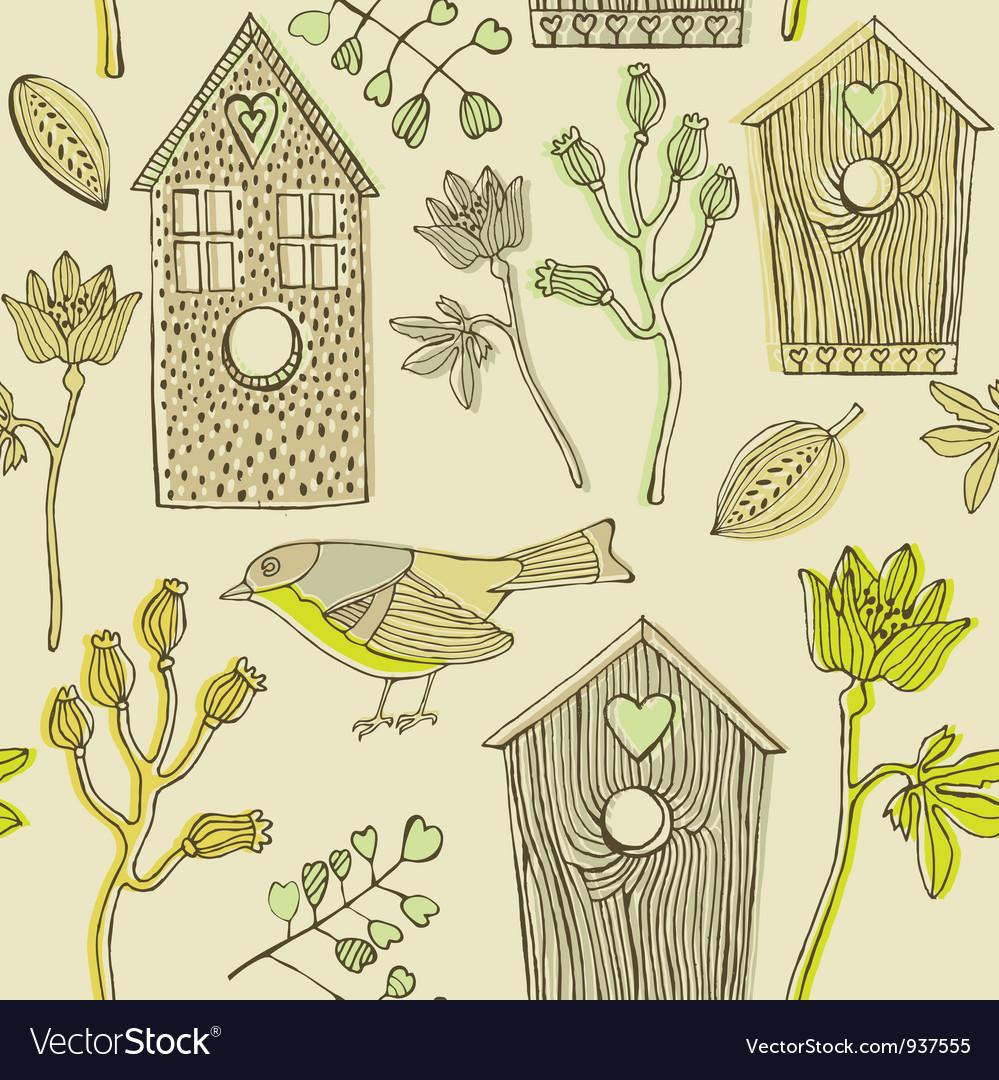 Retro bird house pattern vector | Price: 1 Credit (USD $1)