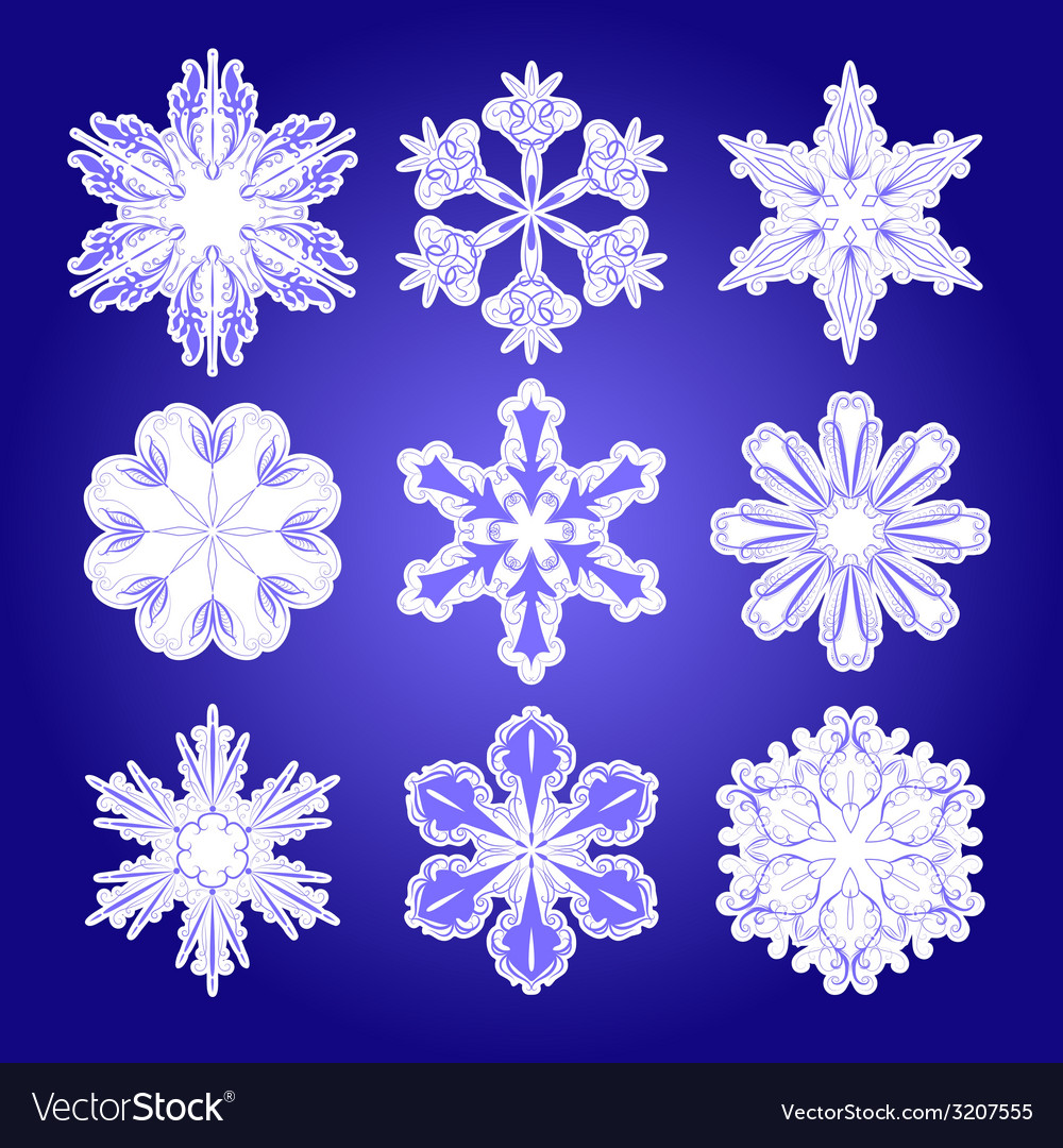 Set of filigree snowflakes vector | Price: 1 Credit (USD $1)