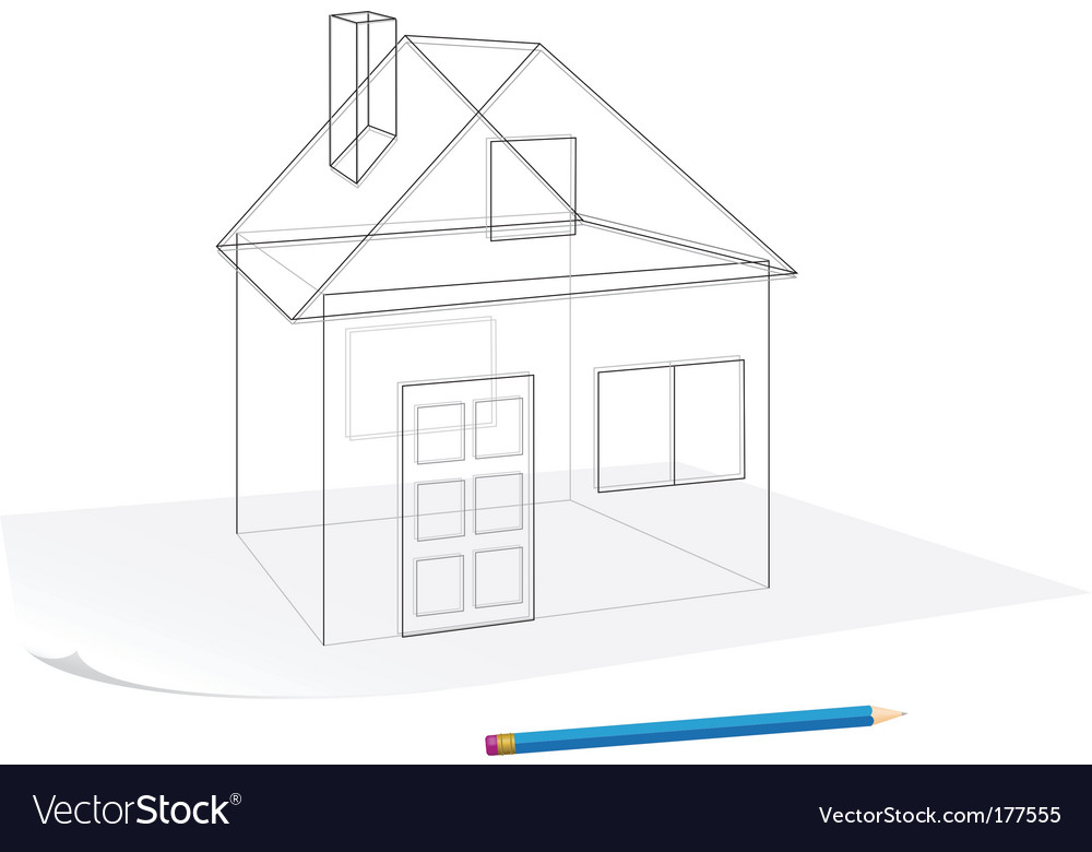 Simple house sketch vector | Price: 1 Credit (USD $1)