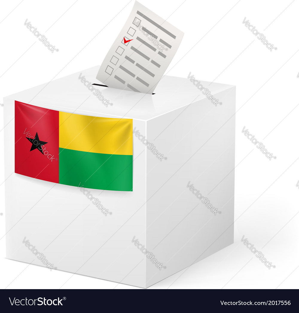 Ballot box with voting paper guineabissau vector | Price: 1 Credit (USD $1)