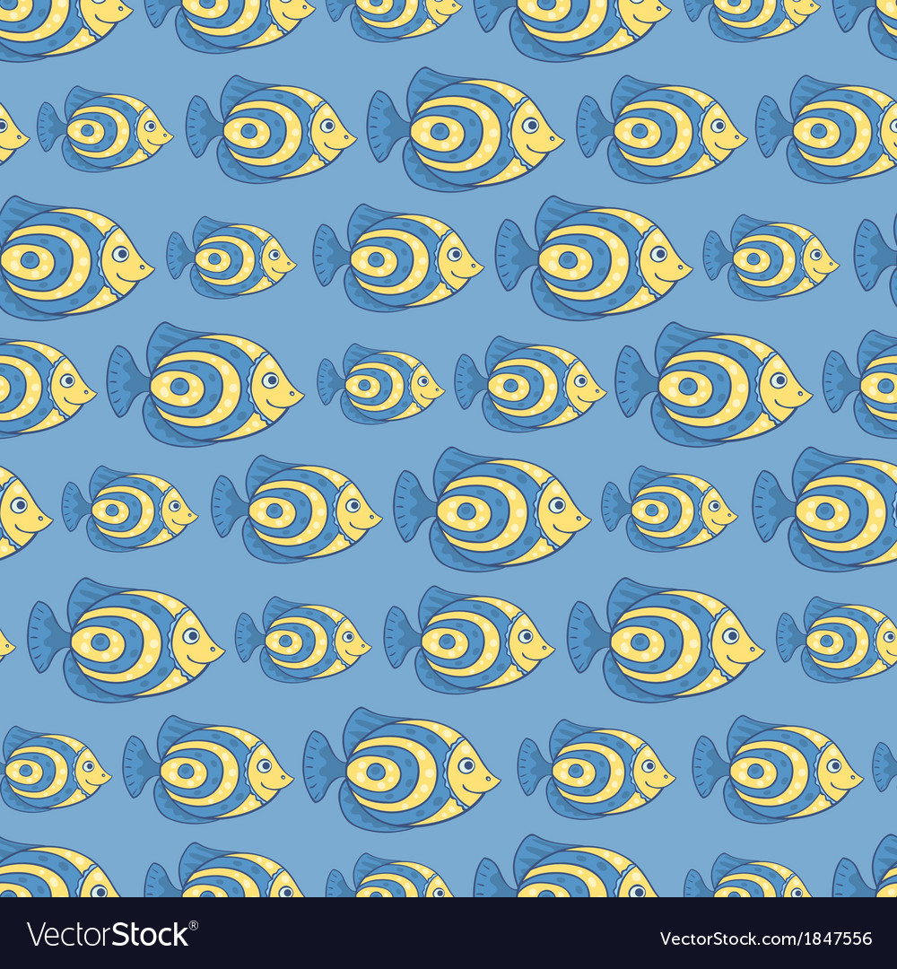 Blue fish seamless pattern vector | Price: 1 Credit (USD $1)