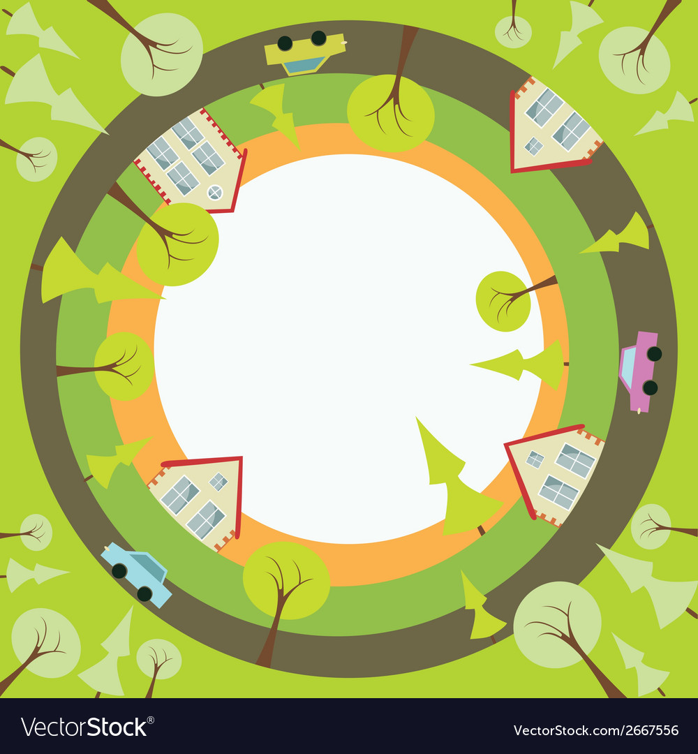 Circular background with houses and trees vector   Price: 1 Credit (USD $1)