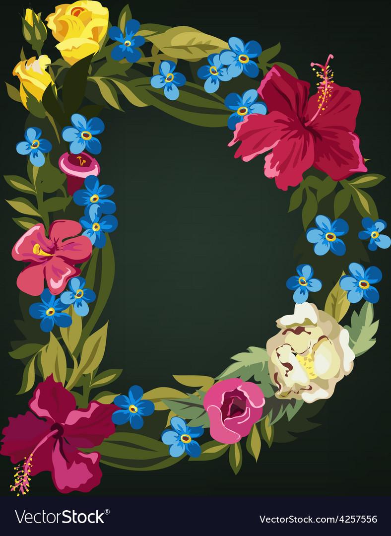 D letter flower capital alphabet colorful font vector | Price: 1 Credit (USD $1)