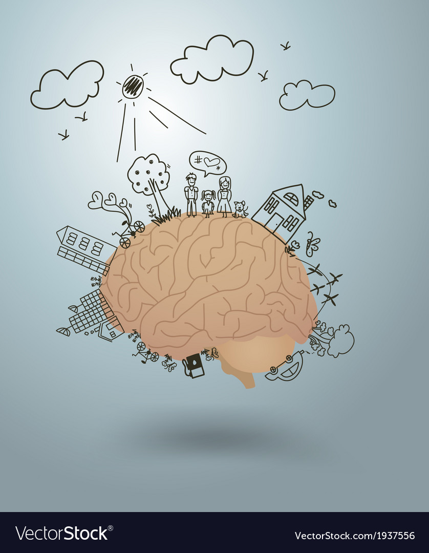 Ecology concept creative drawing on brain vector
