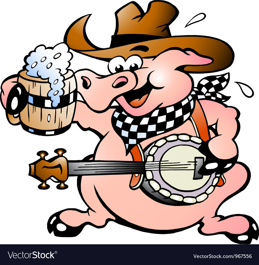 Hand-drawn of an pig playing banjo vector | Price: 1 Credit (USD $1)