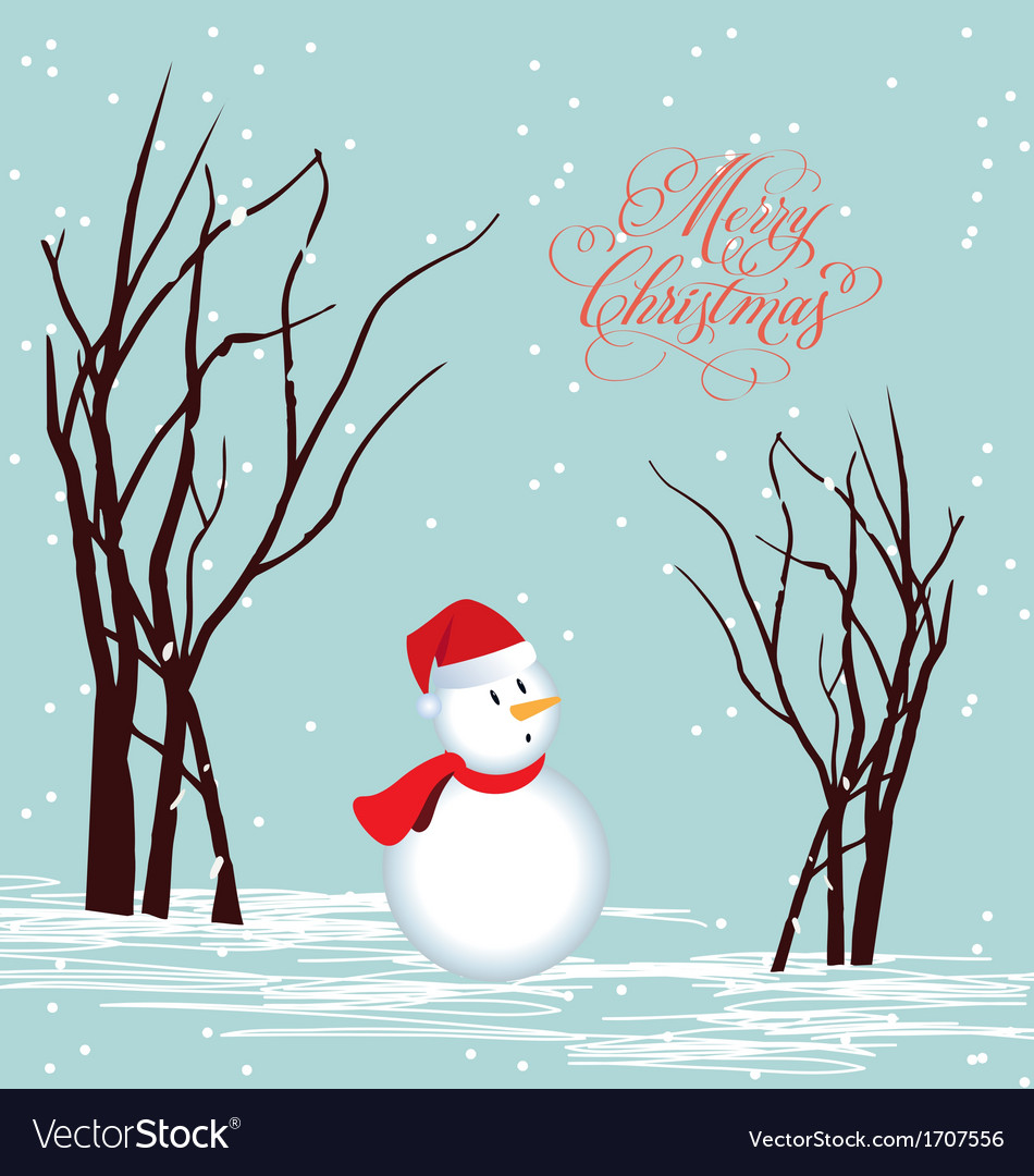 Merry christmas card snowman vector | Price: 1 Credit (USD $1)