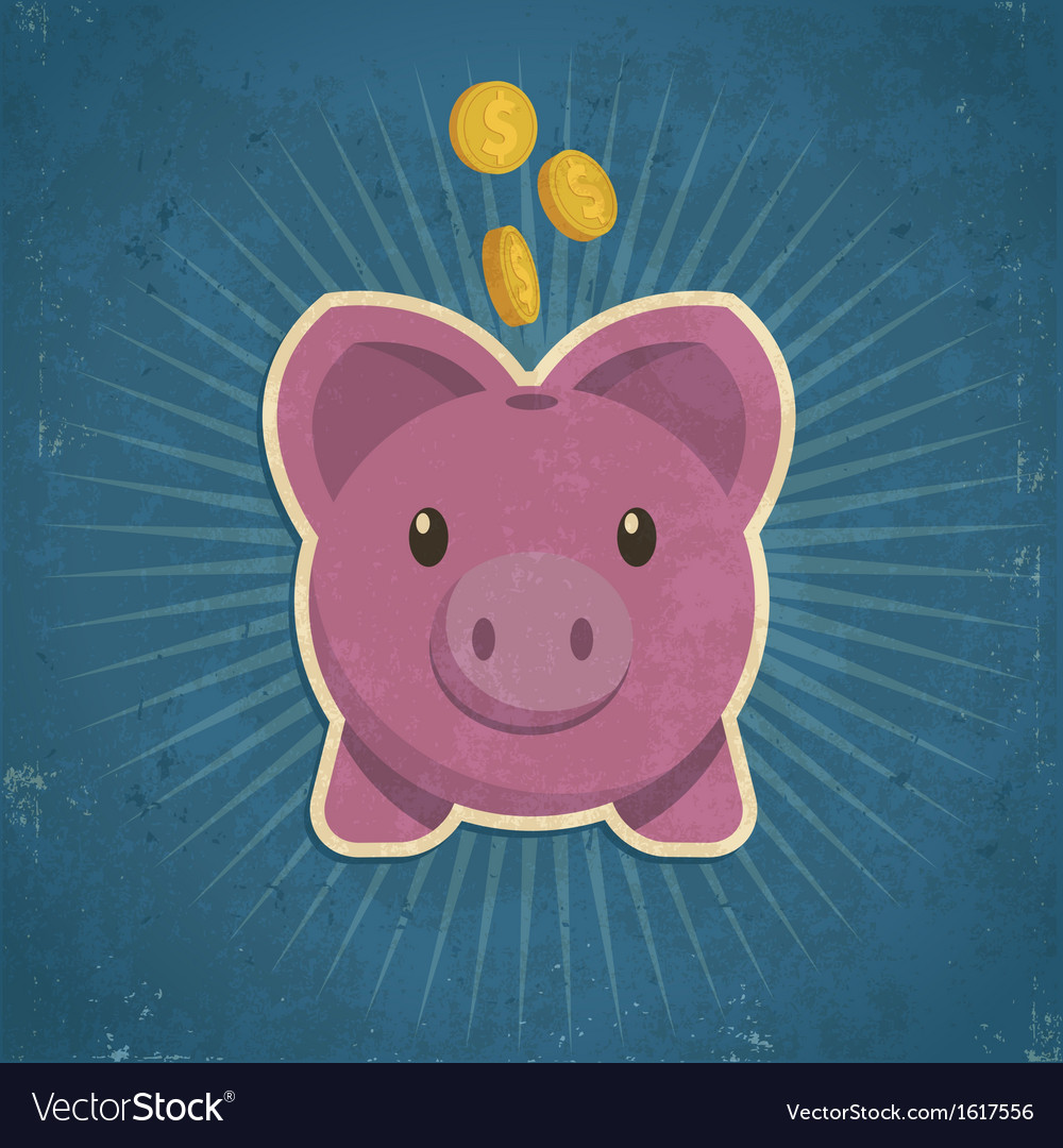 Retro piggy bank vector | Price: 1 Credit (USD $1)