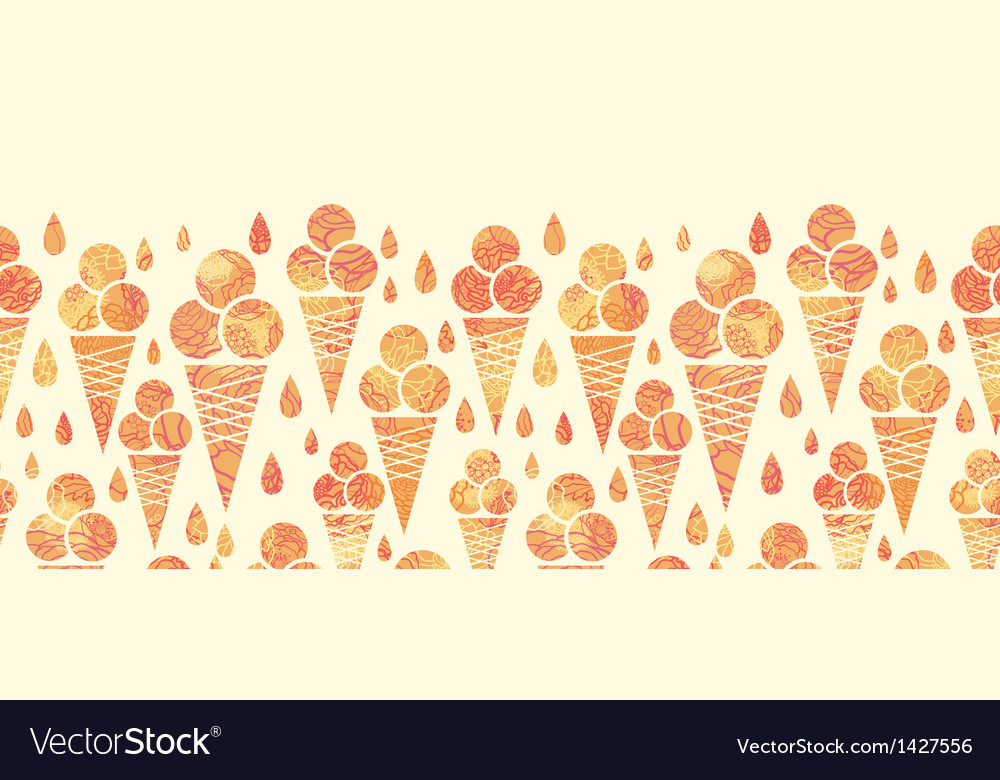 Summer ice cream cones horizontal seamless pattern vector | Price: 1 Credit (USD $1)