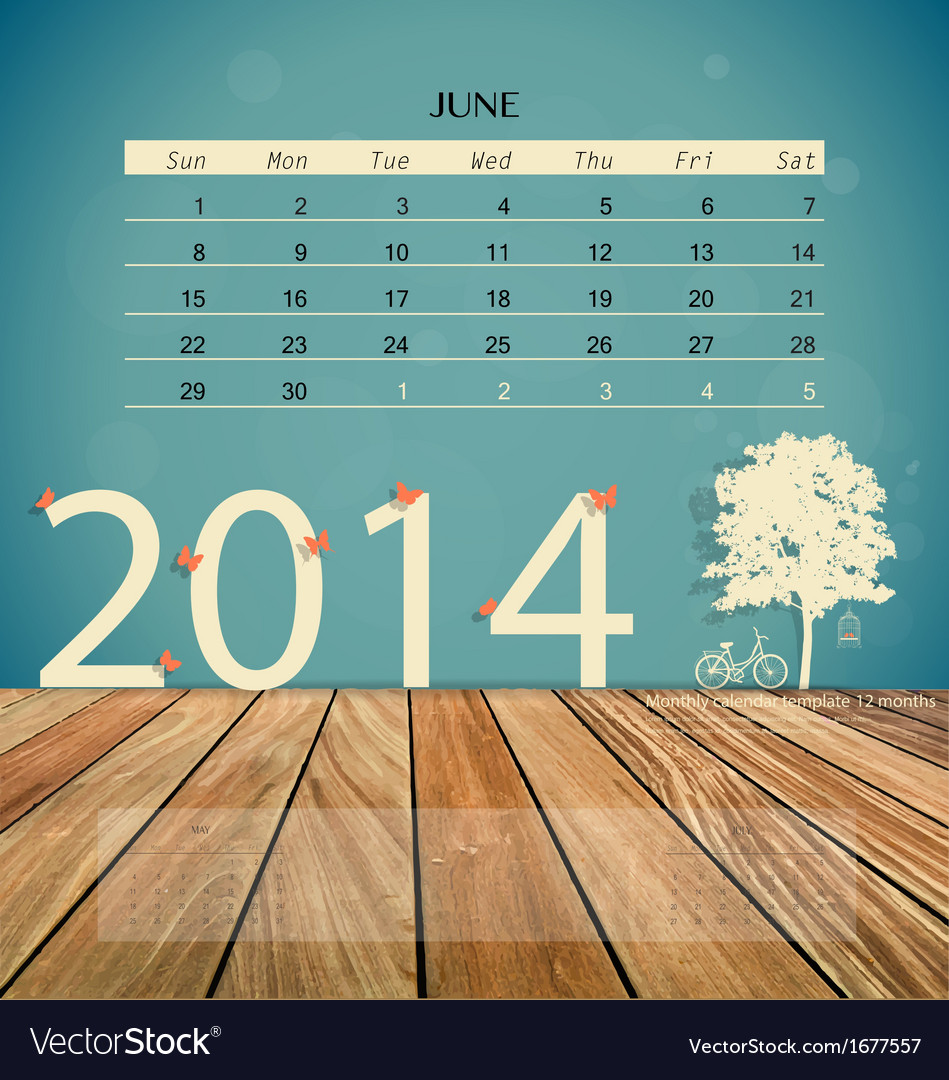 2014 calendar monthly calendar template for june vector | Price: 1 Credit (USD $1)
