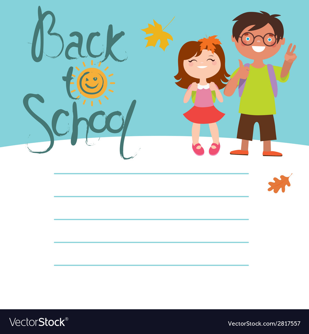 Back to school card design with two kids vector | Price: 1 Credit (USD $1)