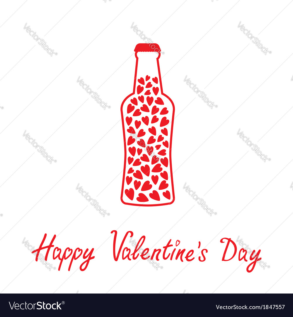 Beer bottle with hearts inside happy valentines da vector | Price: 1 Credit (USD $1)