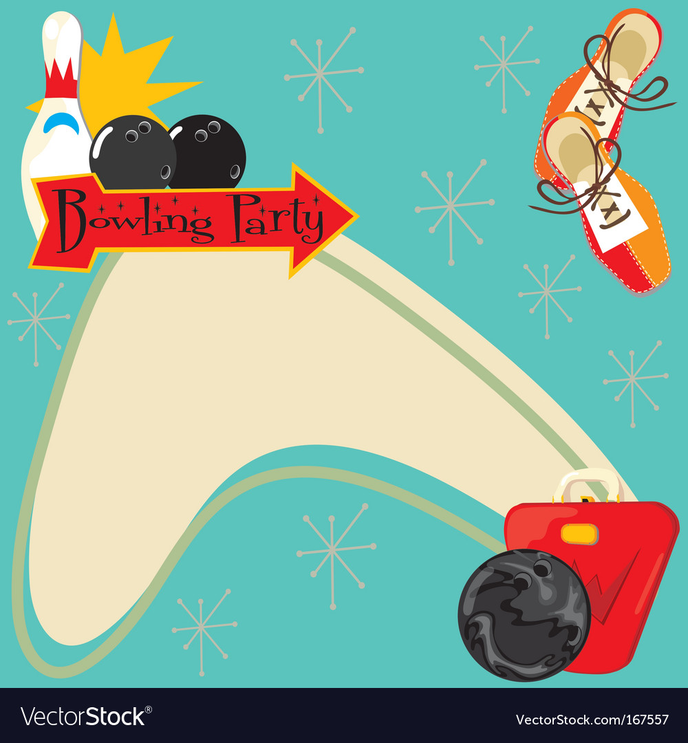 Bowling party invitation vector | Price: 3 Credit (USD $3)