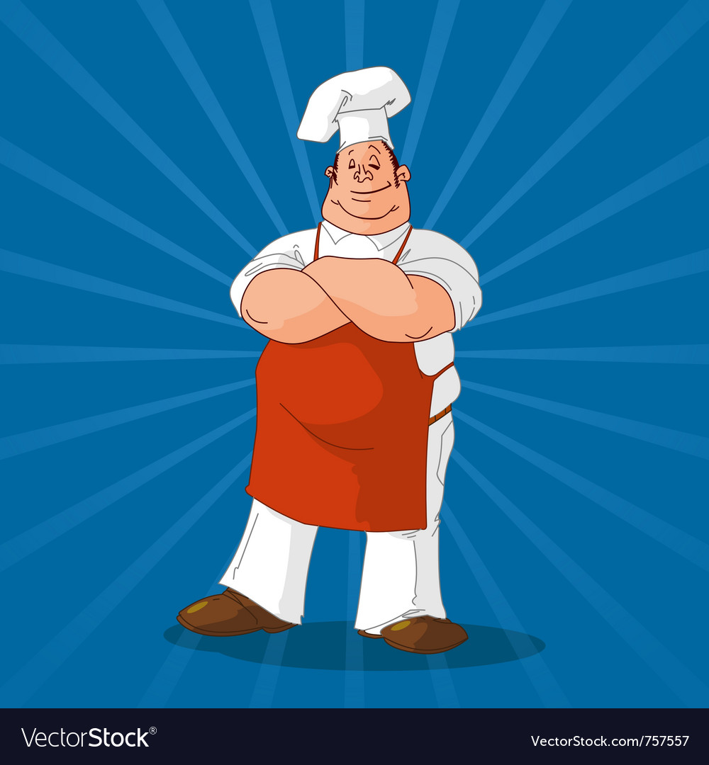 Confident cook on blue background vector | Price: 1 Credit (USD $1)