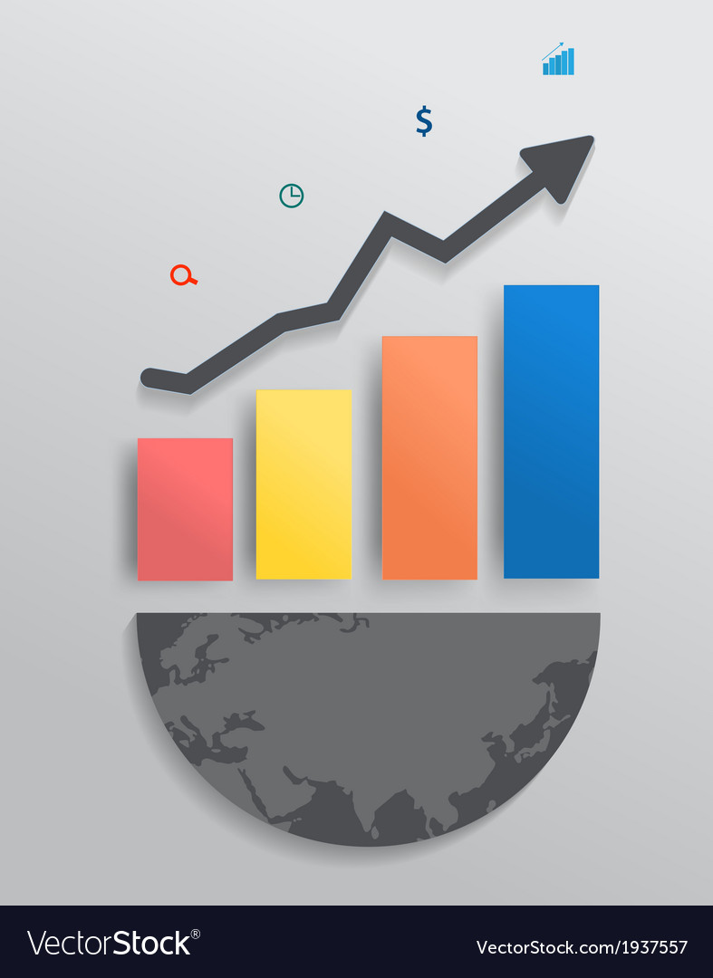 Modern design graph with columns and arrow vector   Price: 1 Credit (USD $1)