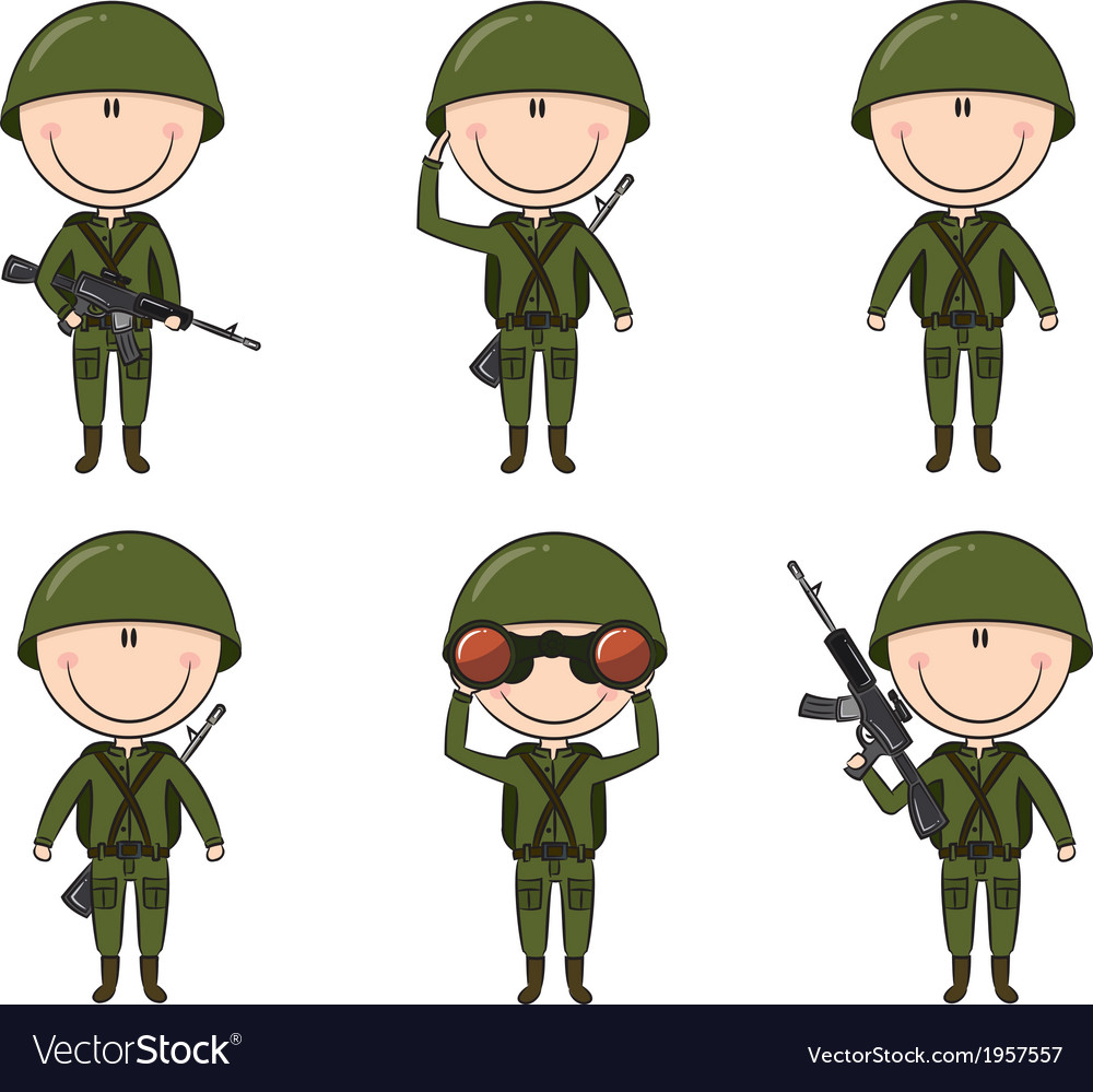 Soldiers in different poses vector | Price: 1 Credit (USD $1)