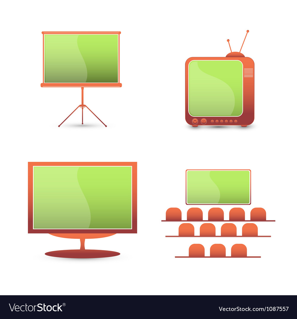 Tv monitor icons vector | Price: 1 Credit (USD $1)