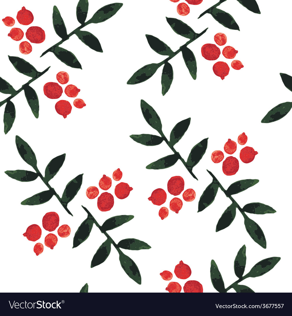 Watercolor seamless pattern ashberry vector | Price: 1 Credit (USD $1)