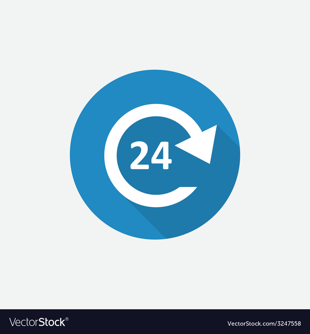 24 hours service flat blue simple icon with long vector | Price: 1 Credit (USD $1)