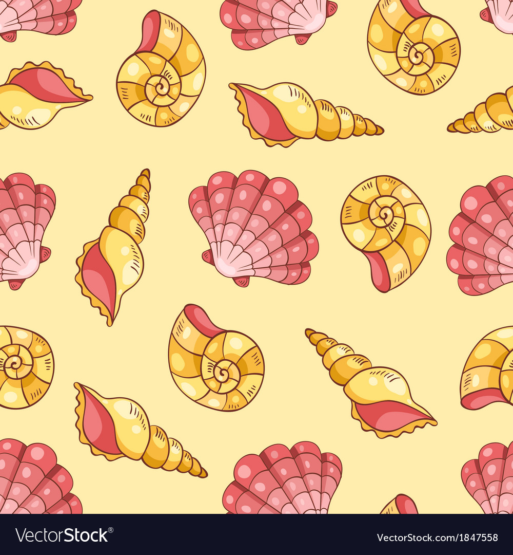 Cockleshells seamless pattern yellow vector | Price: 1 Credit (USD $1)
