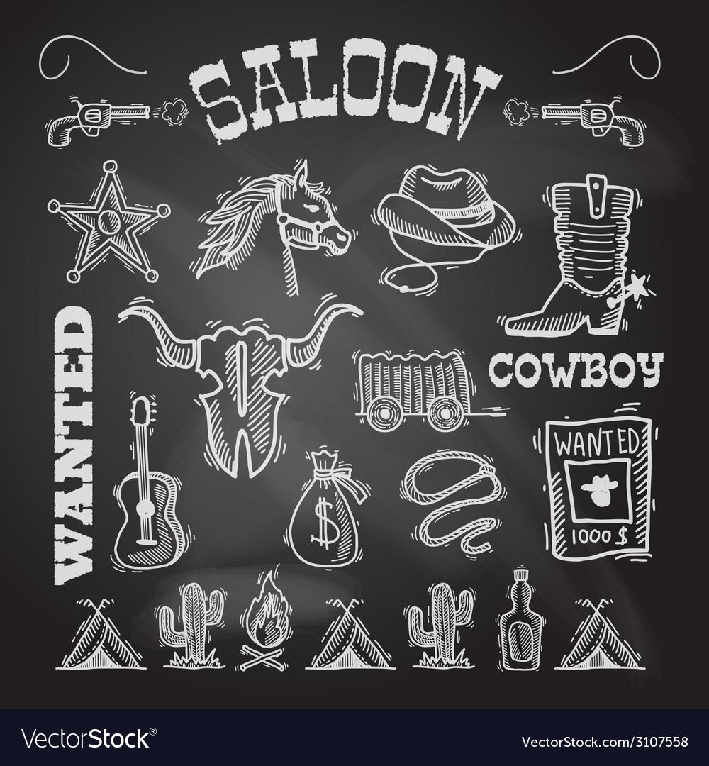 Cowboy chalkboard set vector | Price: 1 Credit (USD $1)
