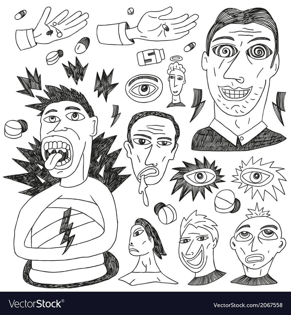 Crazy people - doodles set vector   Price: 1 Credit (USD $1)