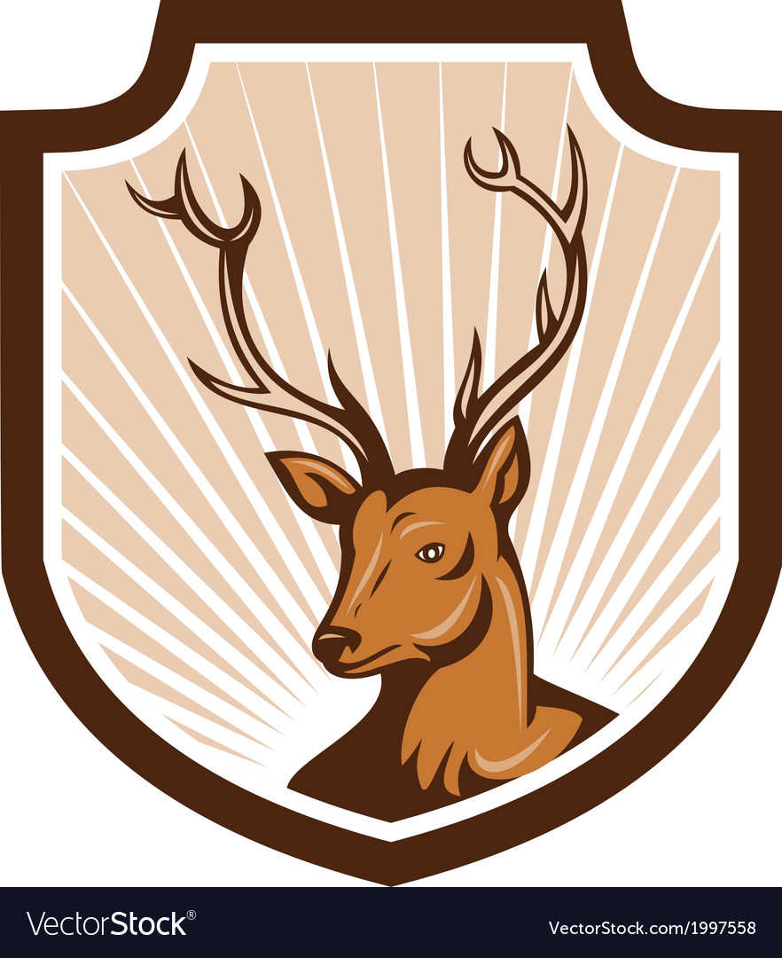 Deer stag buck antler head shield vector | Price: 1 Credit (USD $1)