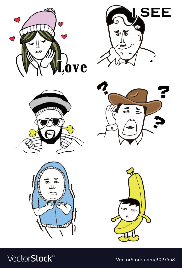 Faces of funny comic people vector | Price: 1 Credit (USD $1)
