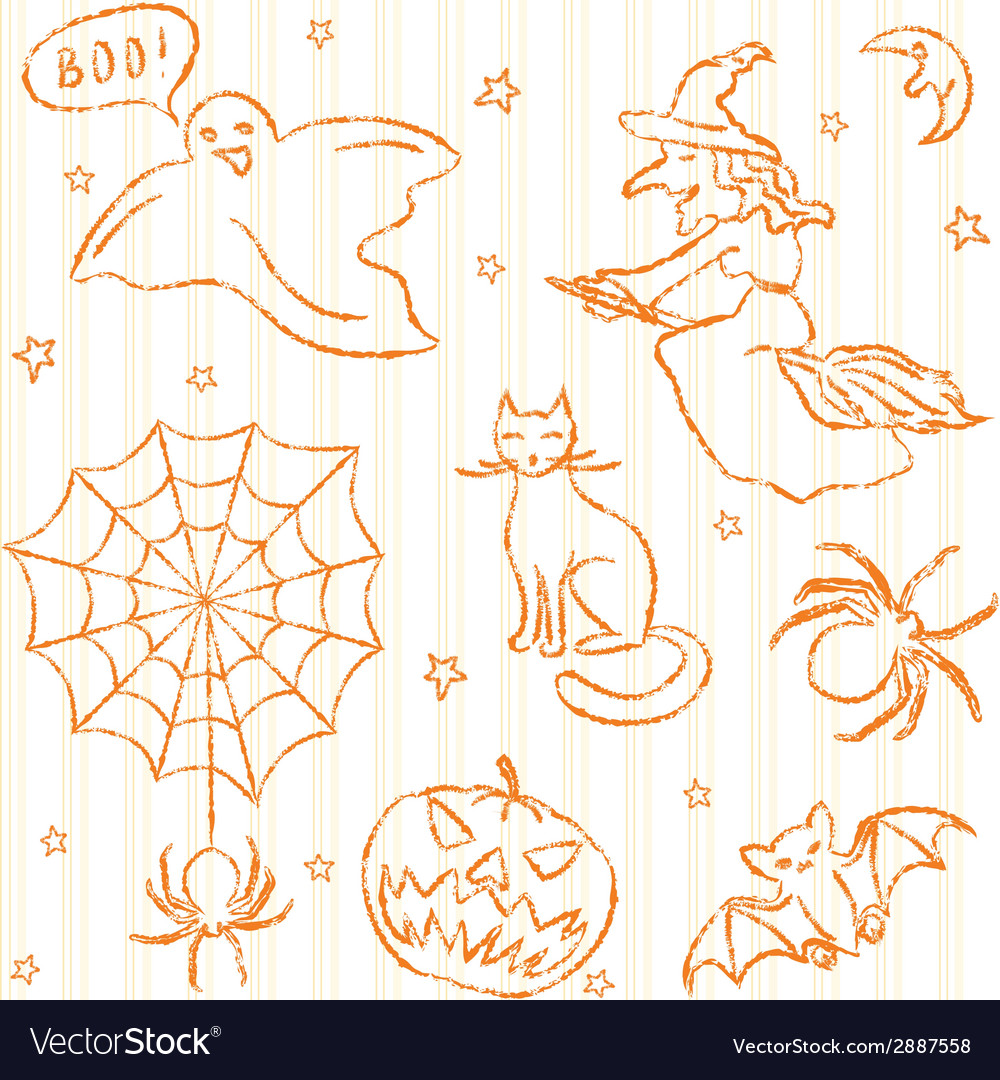 Hand drawn halloween seamless pattern vector | Price: 1 Credit (USD $1)