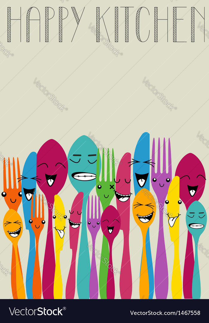 Happy color cutlery vector | Price: 1 Credit (USD $1)