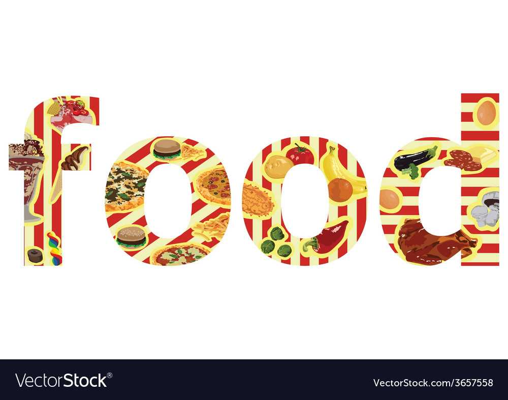 Inscription with food vector | Price: 1 Credit (USD $1)
