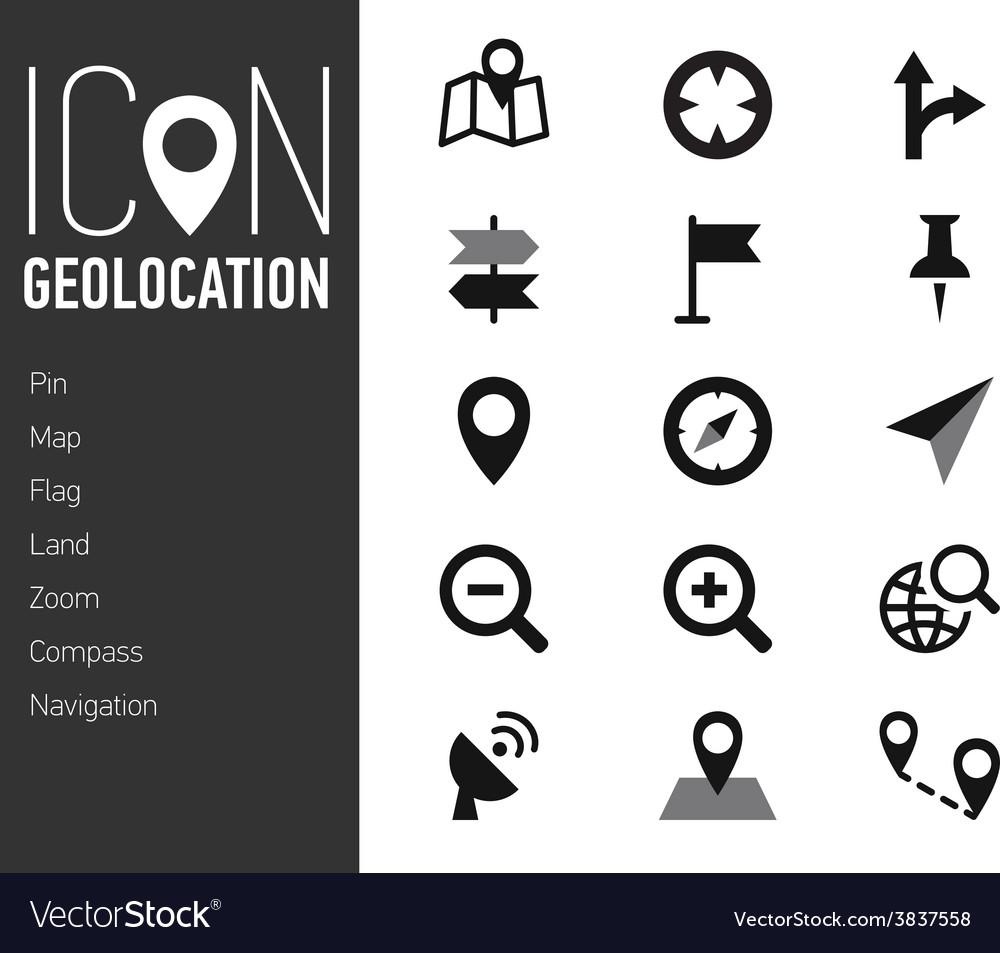 Map icons and location icons with white background vector | Price: 1 Credit (USD $1)