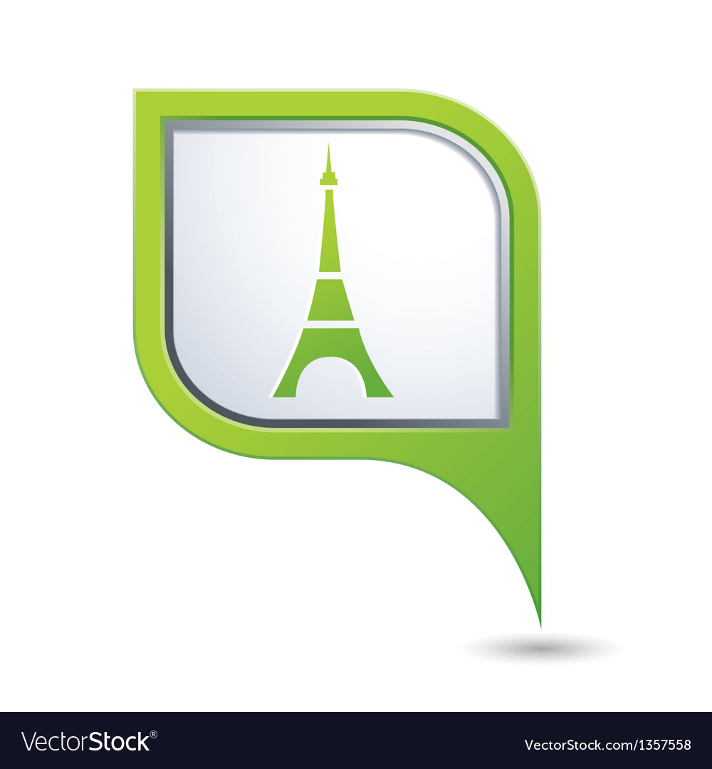 Map pointer with eiffel tower icon vector | Price: 1 Credit (USD $1)