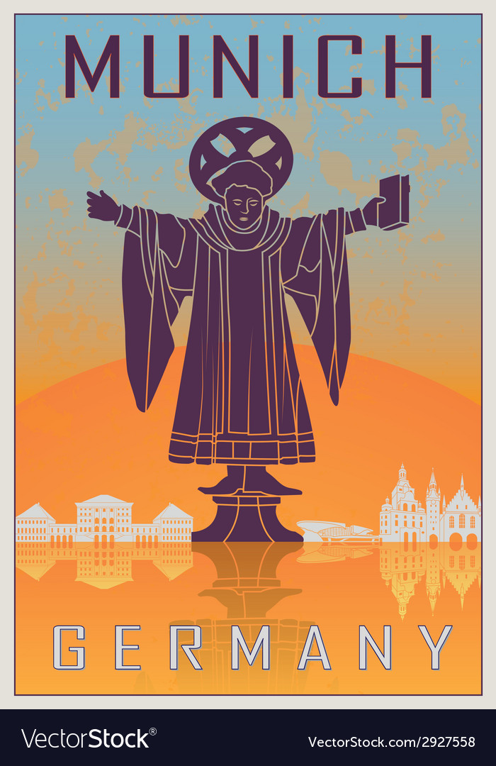 Munich vintage poster vector | Price: 1 Credit (USD $1)
