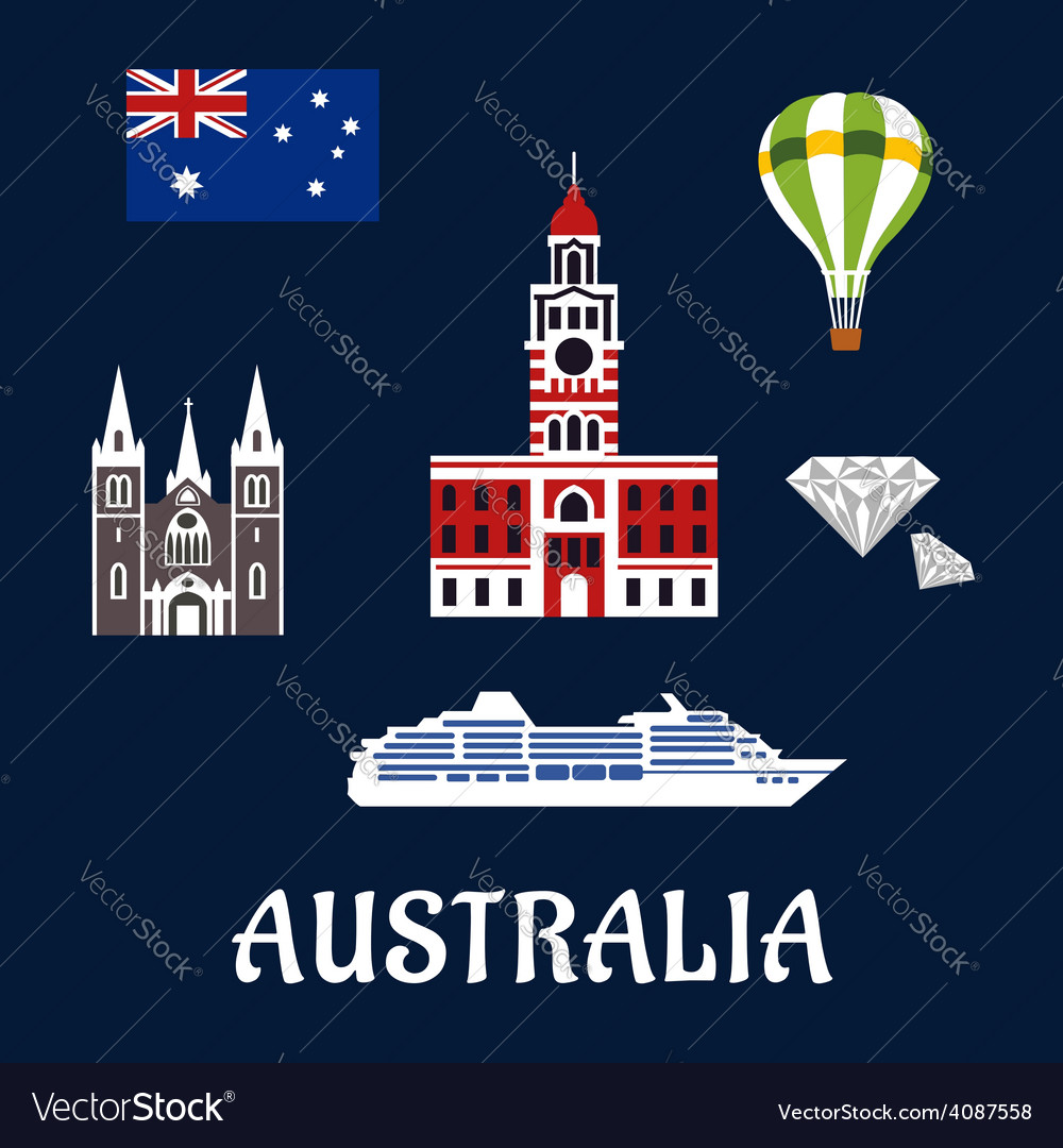 National australian symbols and icons vector | Price: 1 Credit (USD $1)
