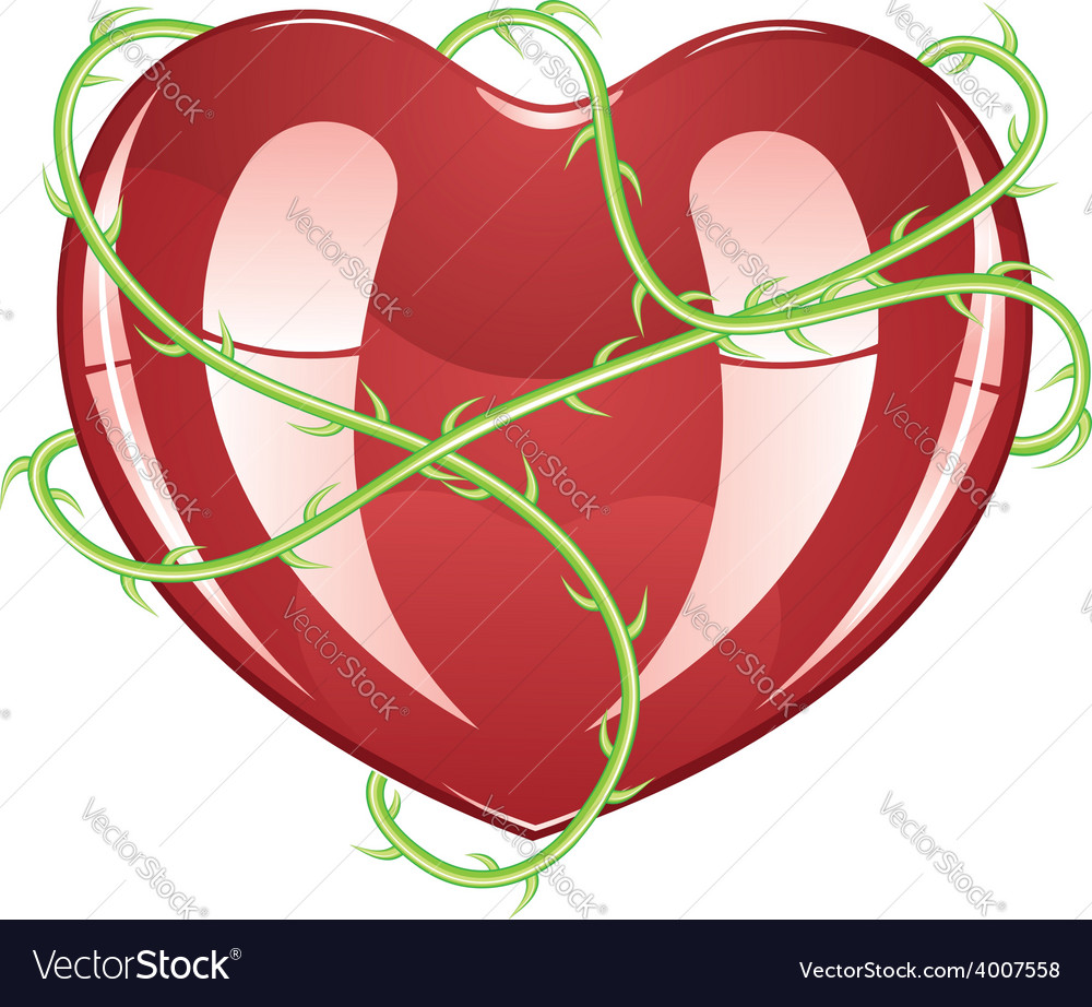 Red heart with thorns2 vector | Price: 3 Credit (USD $3)