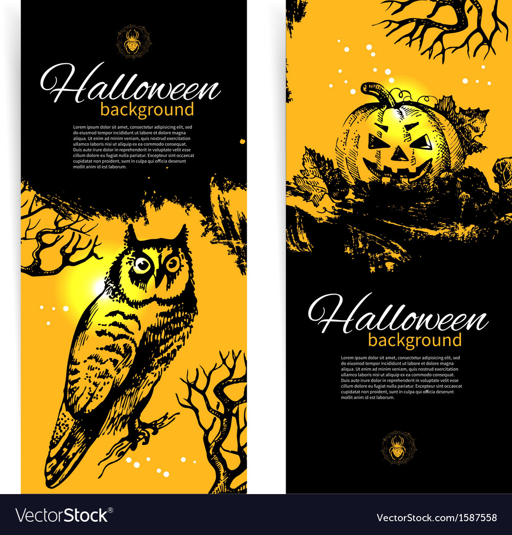 Set of halloween banners hand drawn vector | Price: 1 Credit (USD $1)