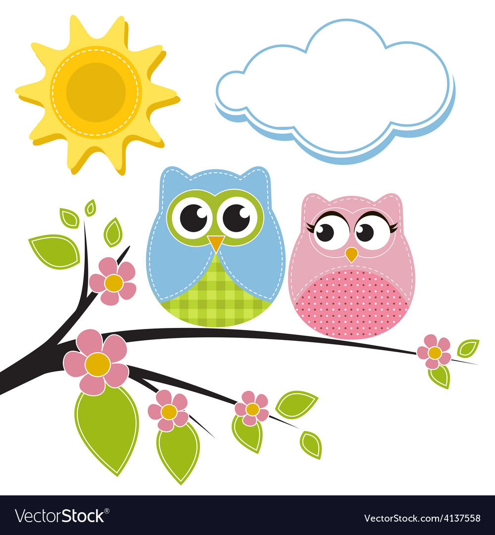 Two owls on the branch vector | Price: 1 Credit (USD $1)