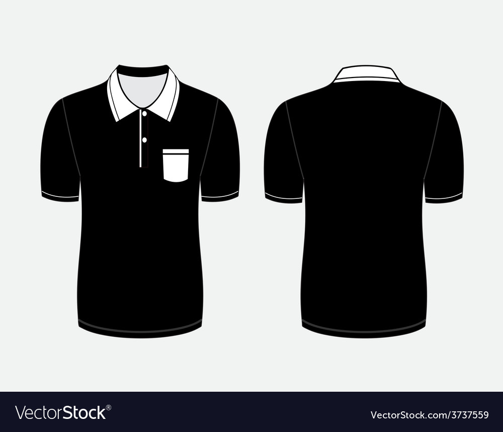 Black polo t shirt front and back views vector | Price: 1 Credit (USD $1)