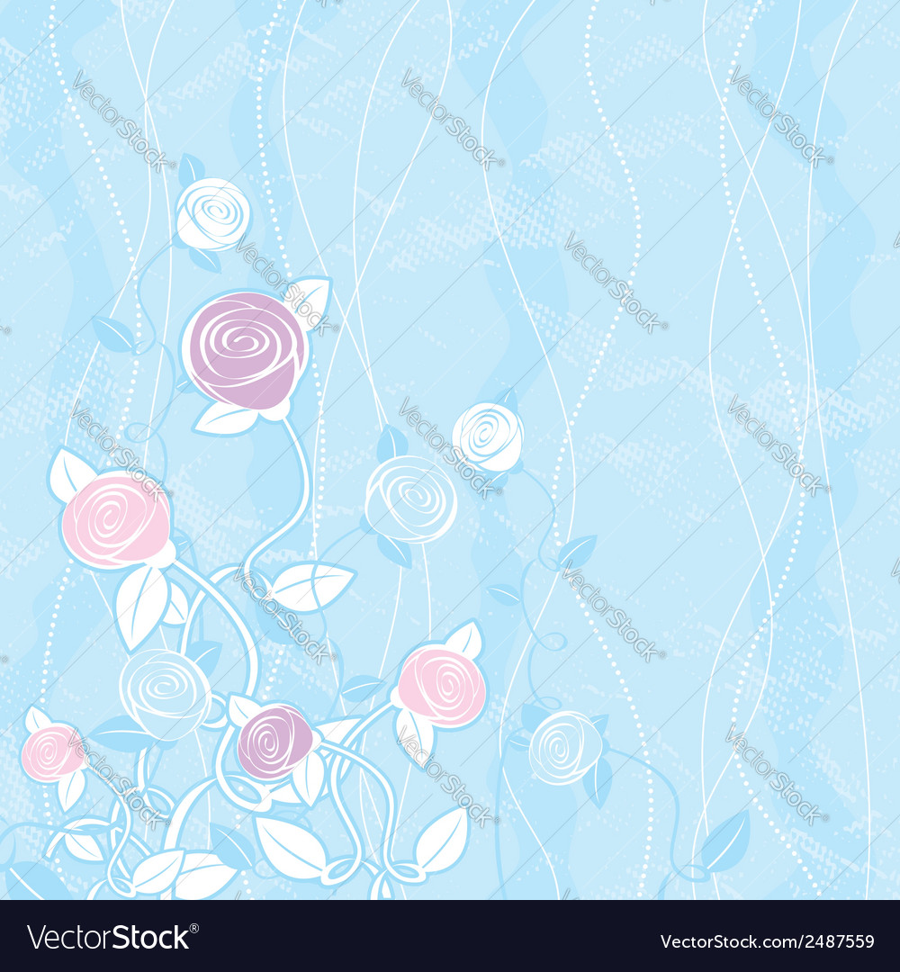 Bouquet of roses on blue background vector | Price: 1 Credit (USD $1)