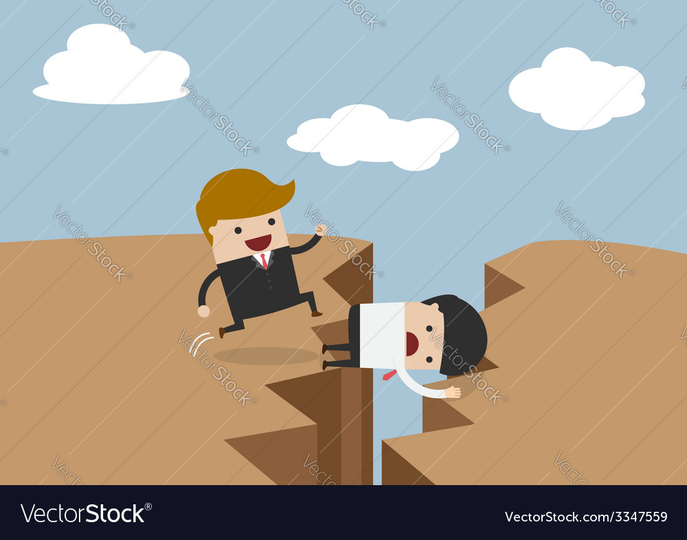 Businessman use himself as bridge sacrifice himse vector | Price: 1 Credit (USD $1)