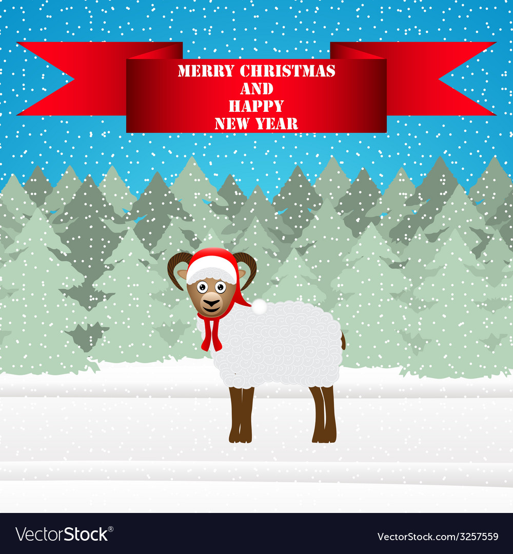 Christmas sheep in the winter forest vector | Price: 1 Credit (USD $1)