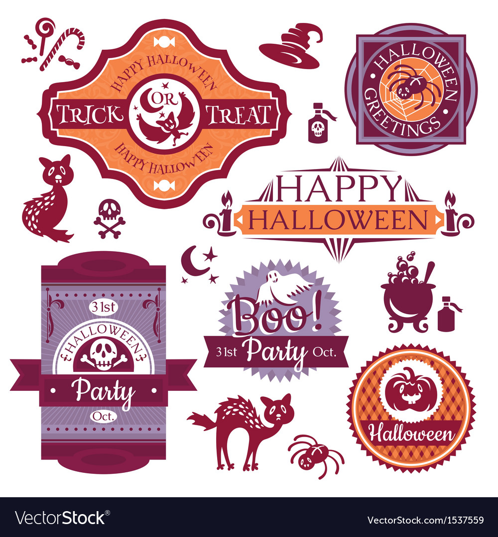 Collection of halloween labels and signs vector | Price: 3 Credit (USD $3)
