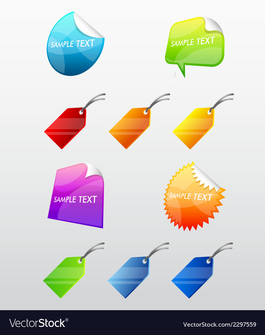 Colorful web stickers tags and labels collection vector | Price: 1 Credit (USD $1)