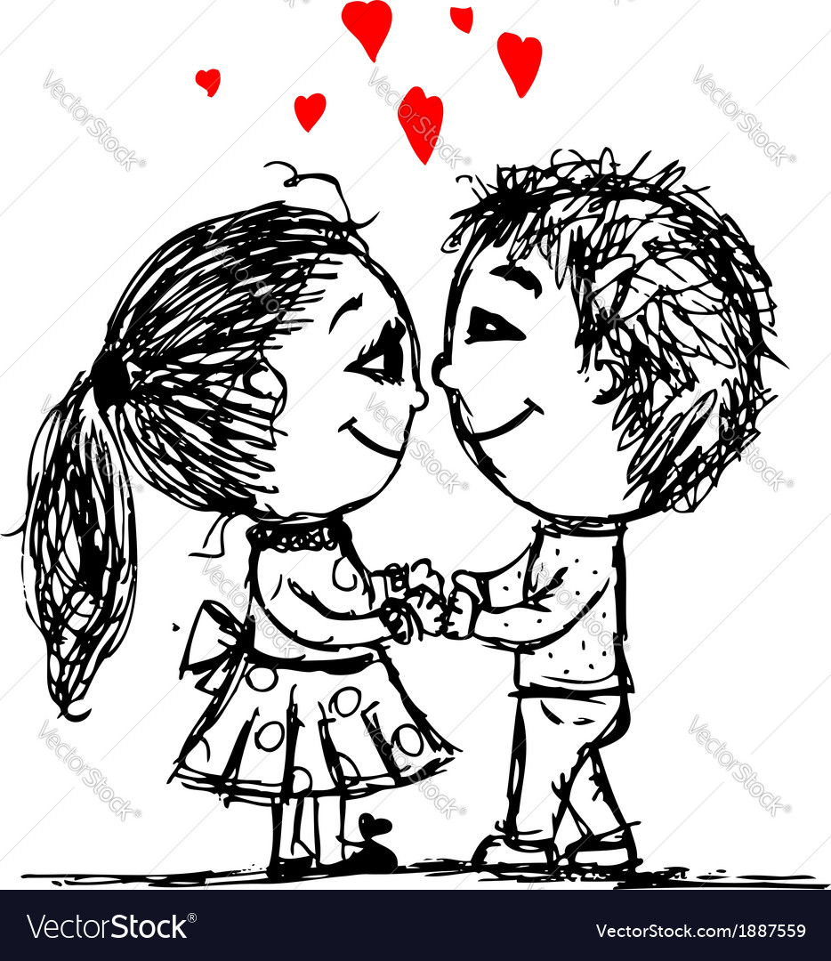 Couple in love together valentine sketch for your vector | Price: 1 Credit (USD $1)