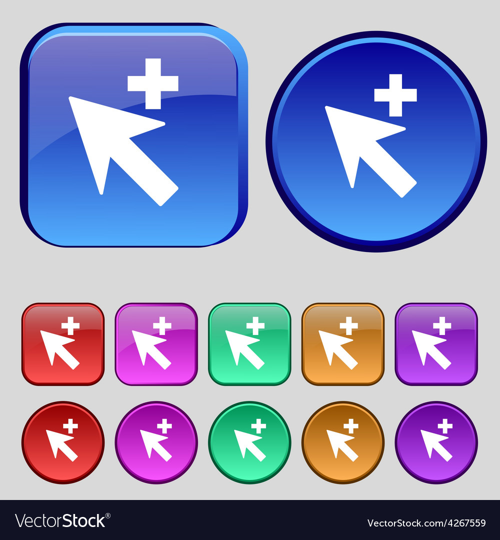 Cursor arrow plus add icon sign a set of twelve vector | Price: 1 Credit (USD $1)
