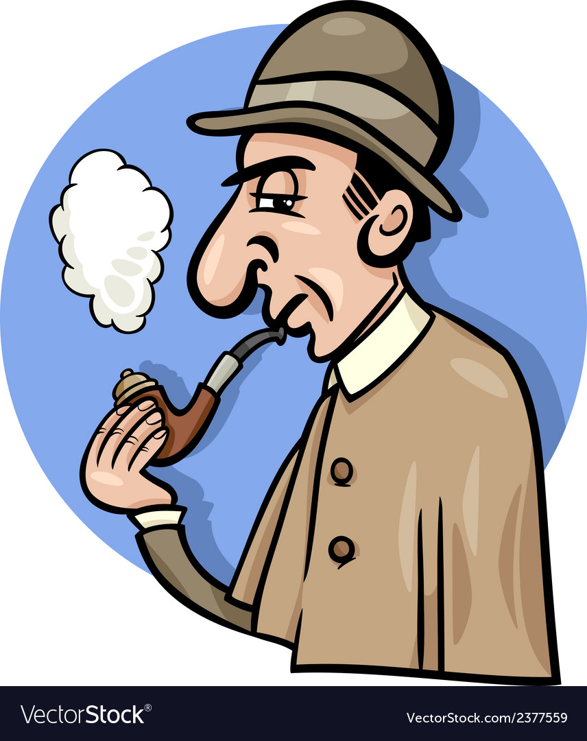 Detective with pipe cartoon vector | Price: 1 Credit (USD $1)