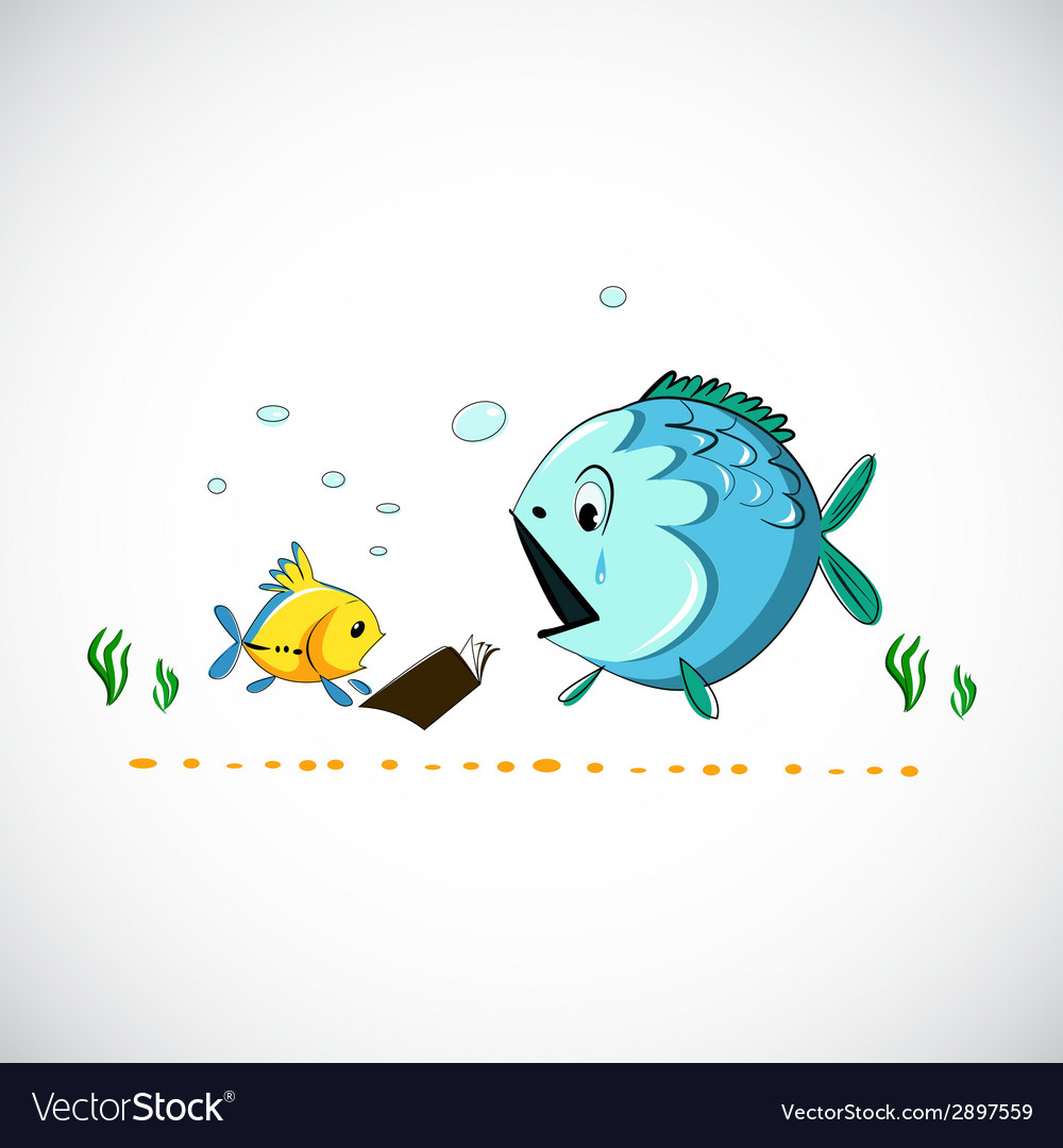 Drawing funny cartoon sea fish eps vector | Price: 1 Credit (USD $1)